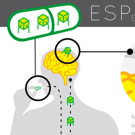 Part Of A Graphic Illustration Showing Someone Taking A Tablet And Its Nano Bot Ingredients Colonising On The Brain. In The Background Are The Letters ESP.