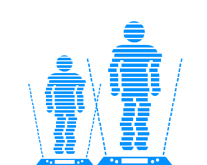 Illustration of two people standing on platforms in mid teleportation
