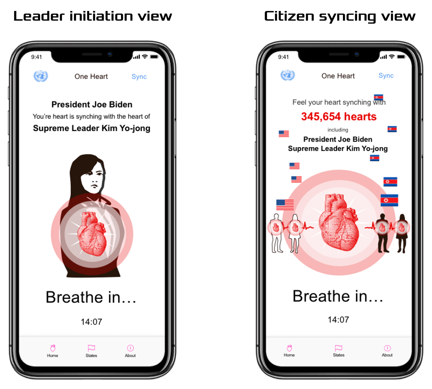 Two screens showing the Treaty of One Heart app—one shows a world leader's heart breathing-in and out, while the other screen shows citizens of conflicting countries syncing their hearts